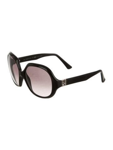 Jewel Embellished Logo Sunglasses