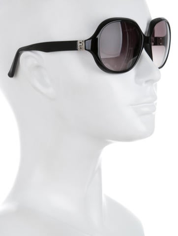 Jewel Embellished Logo Sunglasses