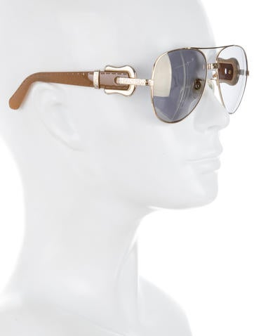 Buckle Embellished Aviator Sunglasses