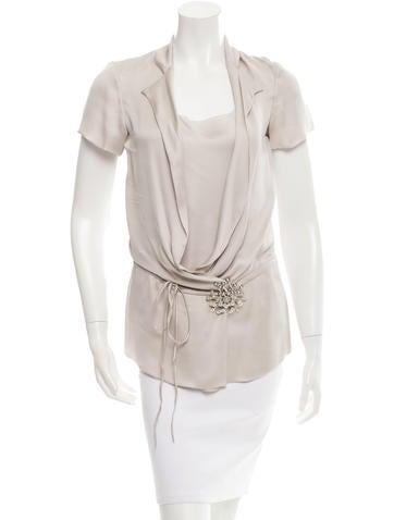 Fendi Embellished Silk Top None