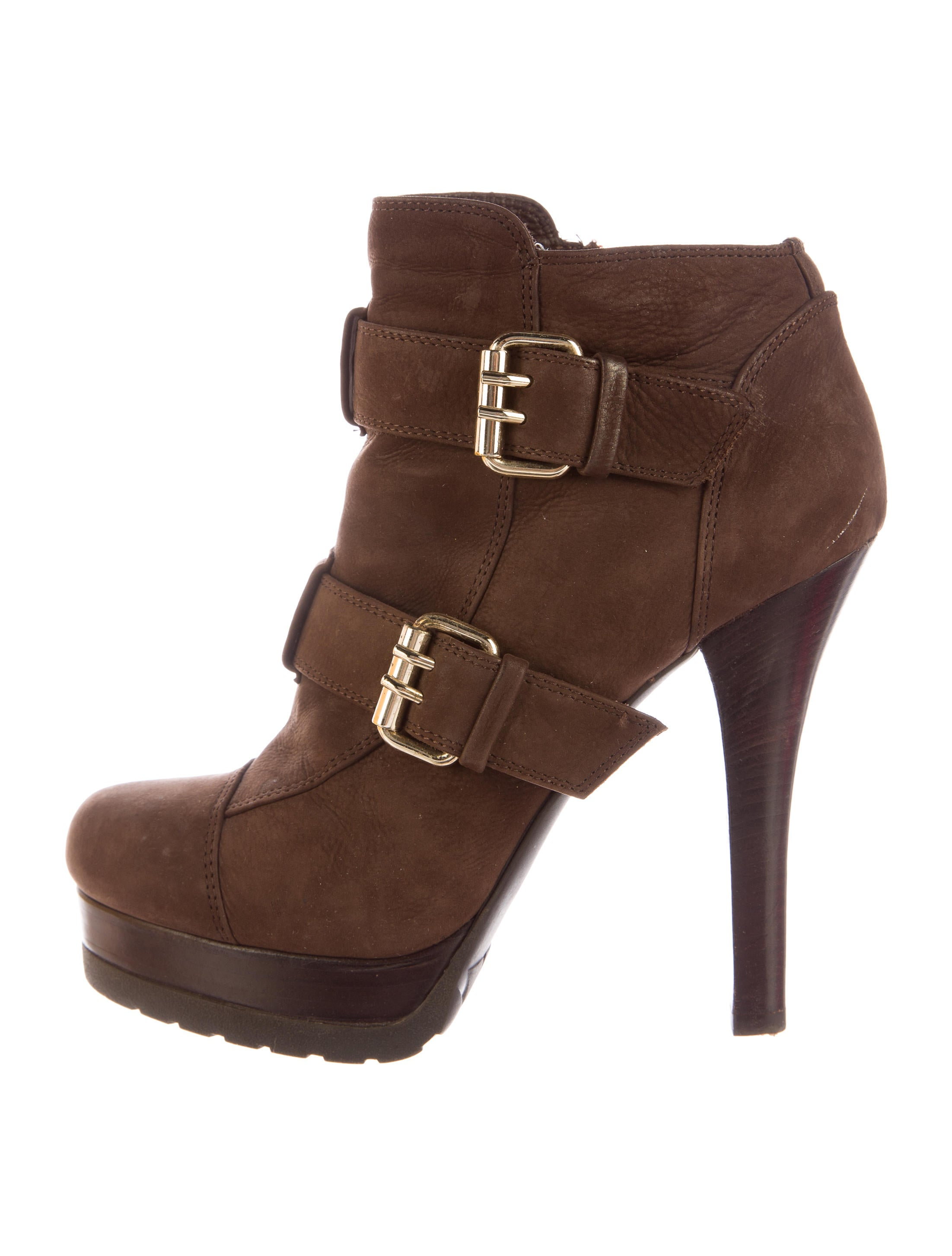 fendi suede buckle booties shoes fen43153 the realreal