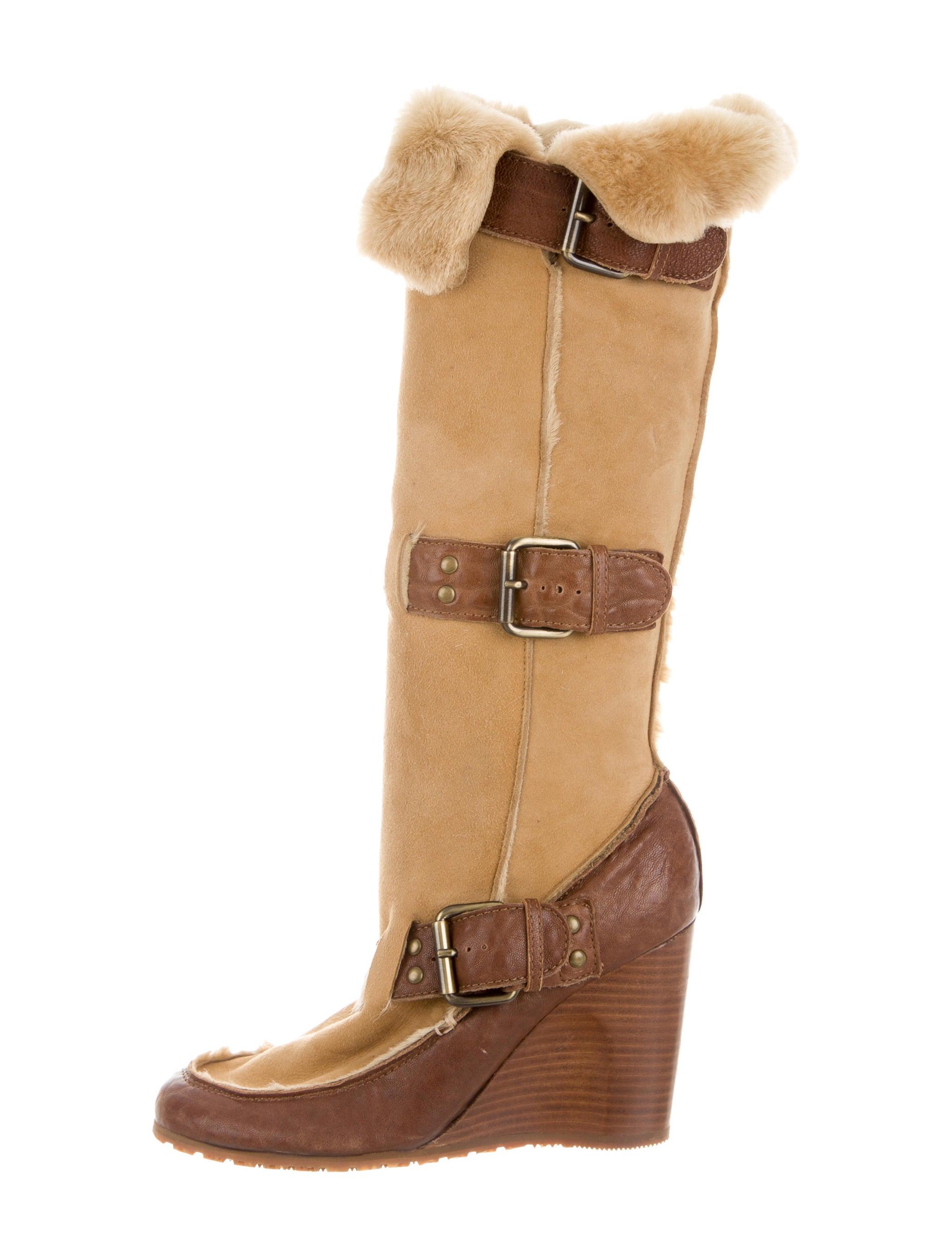 fendi fur trimmed knee high boots shoes fen43967 the