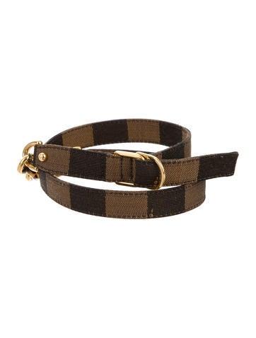 Fendi Chain-Accented Pequin Belt None