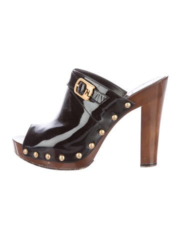 Buckle-Accented Peep-Toe Mules