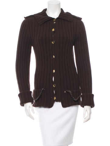 Fendi Rib Knit Long Sleeve Cardigan None