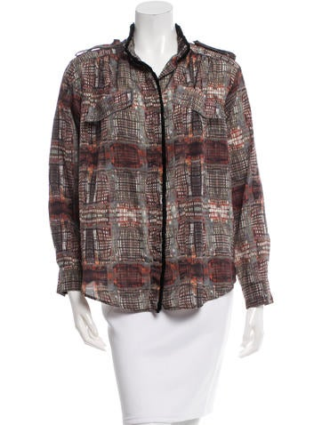 Fendi Abstract Print Fringe-Trimmed Blouse None