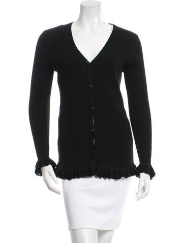 Fendi Ruffled Rib Knit Cardigan None