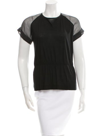 Fendi Sheer-Accented Silk Top None