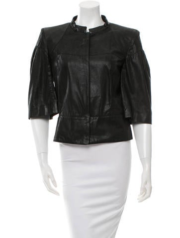 Fendi Three-Quarter Sleeve Leather Jacket None