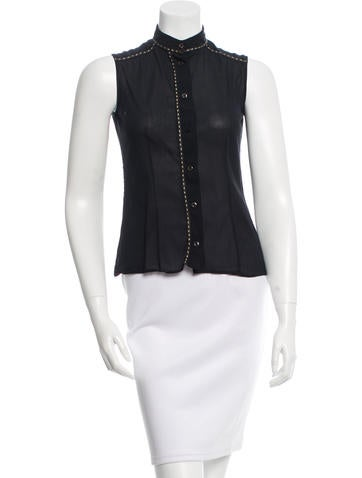 Fendi Sleeveless Button-Up Top None