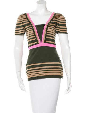 Fendi Cashmere & Silk Striped Top None