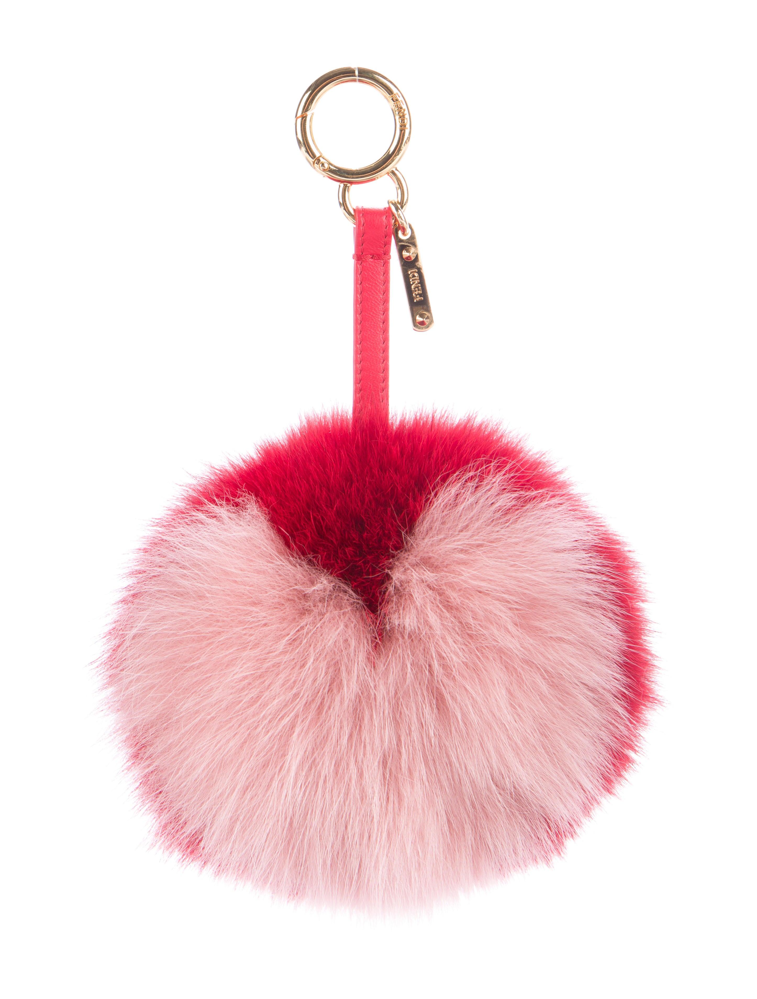 Fendi Heart Fox Fur Pom Pom Bag Charm W Tags