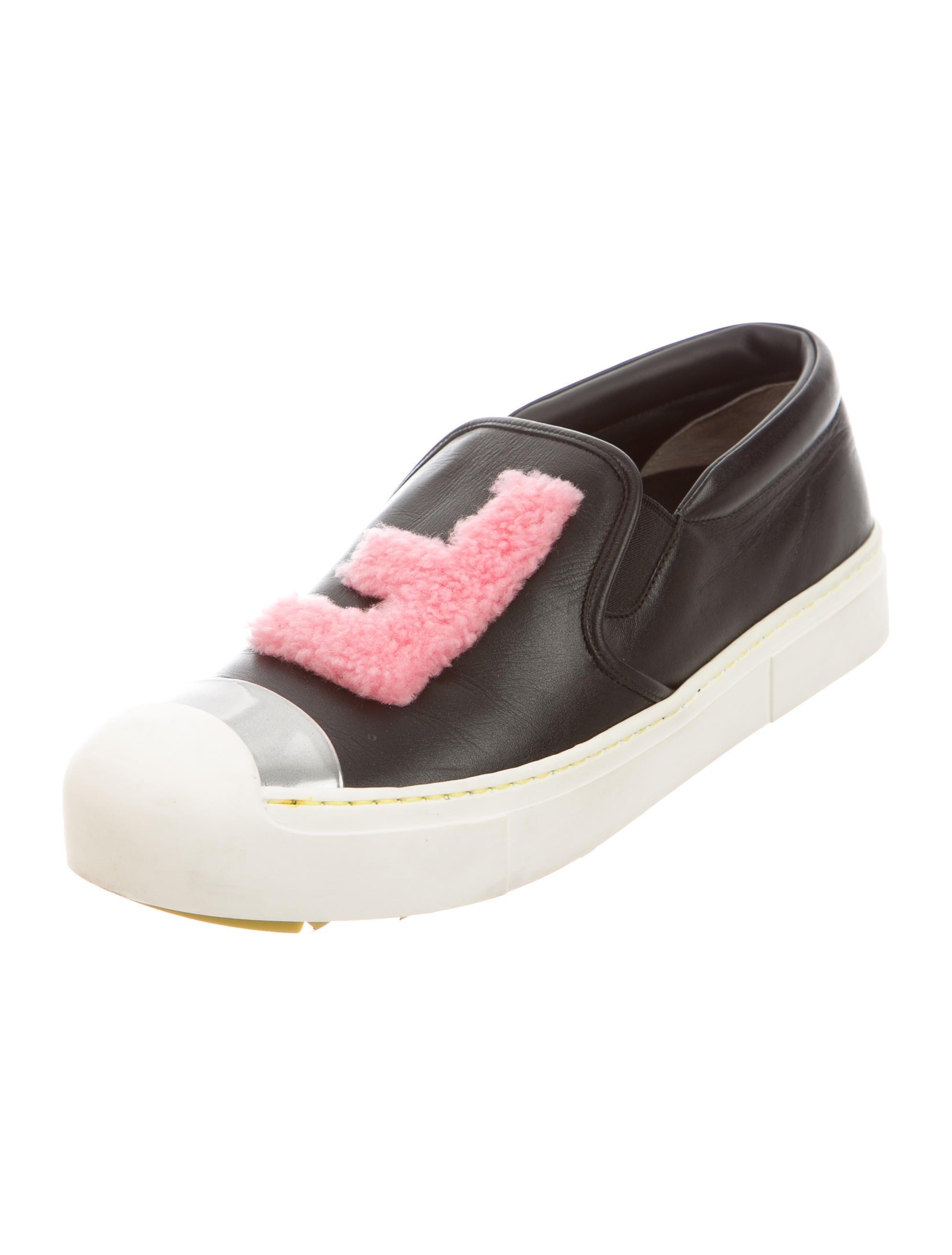 Fendi Fur-Trimmed Slip-On Sneakers - Shoes - FEN47319 ...