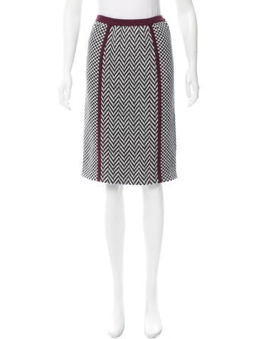 Fendi Patterned Wool Skirt w/ Tags None