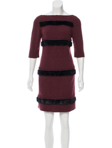 Fendi Mink-Trimmed Cashmere Dress None