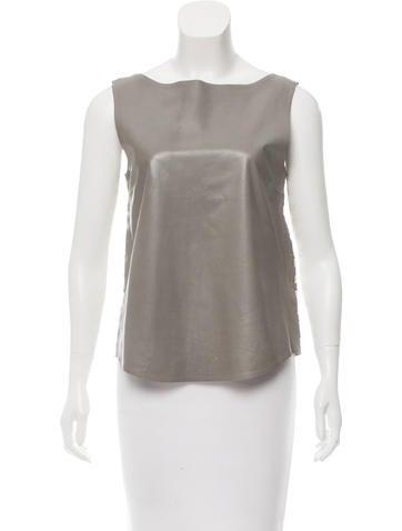 Fendi Leather-Paneled Striped Top None