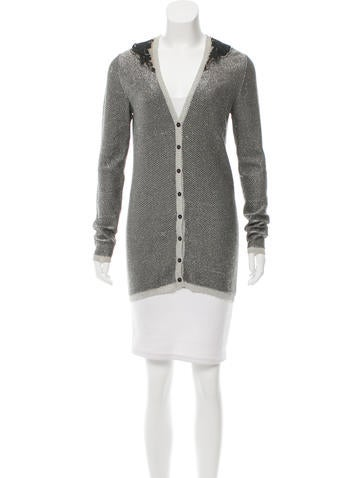 Fendi Embroidered Metallic Cardigan None