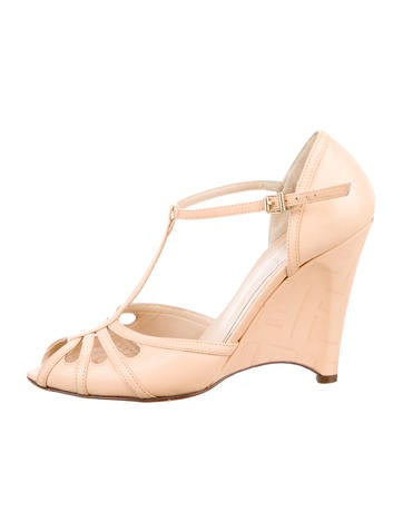 Fendi Leather Peep-Toe Wedges None