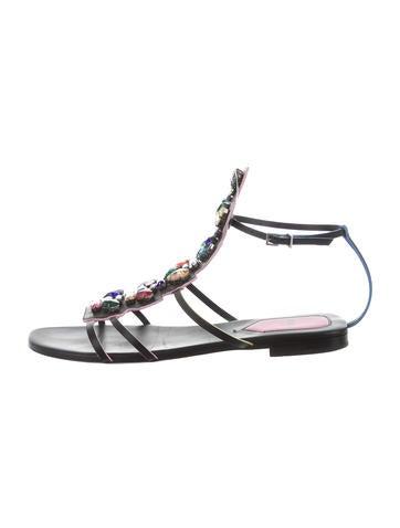 Leather Jewel-Embellished Sandals