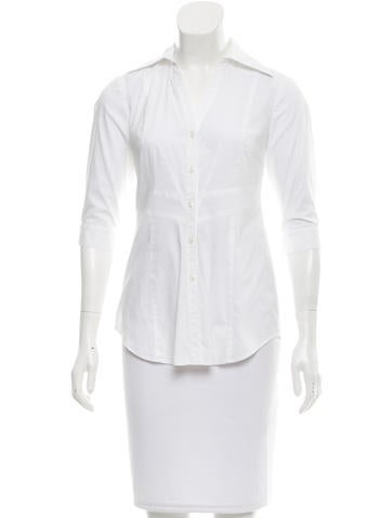 Fendi Three-Quarter Sleeve Button-Up Top None