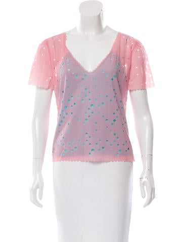 Fendi Perforated V-Neck Top None