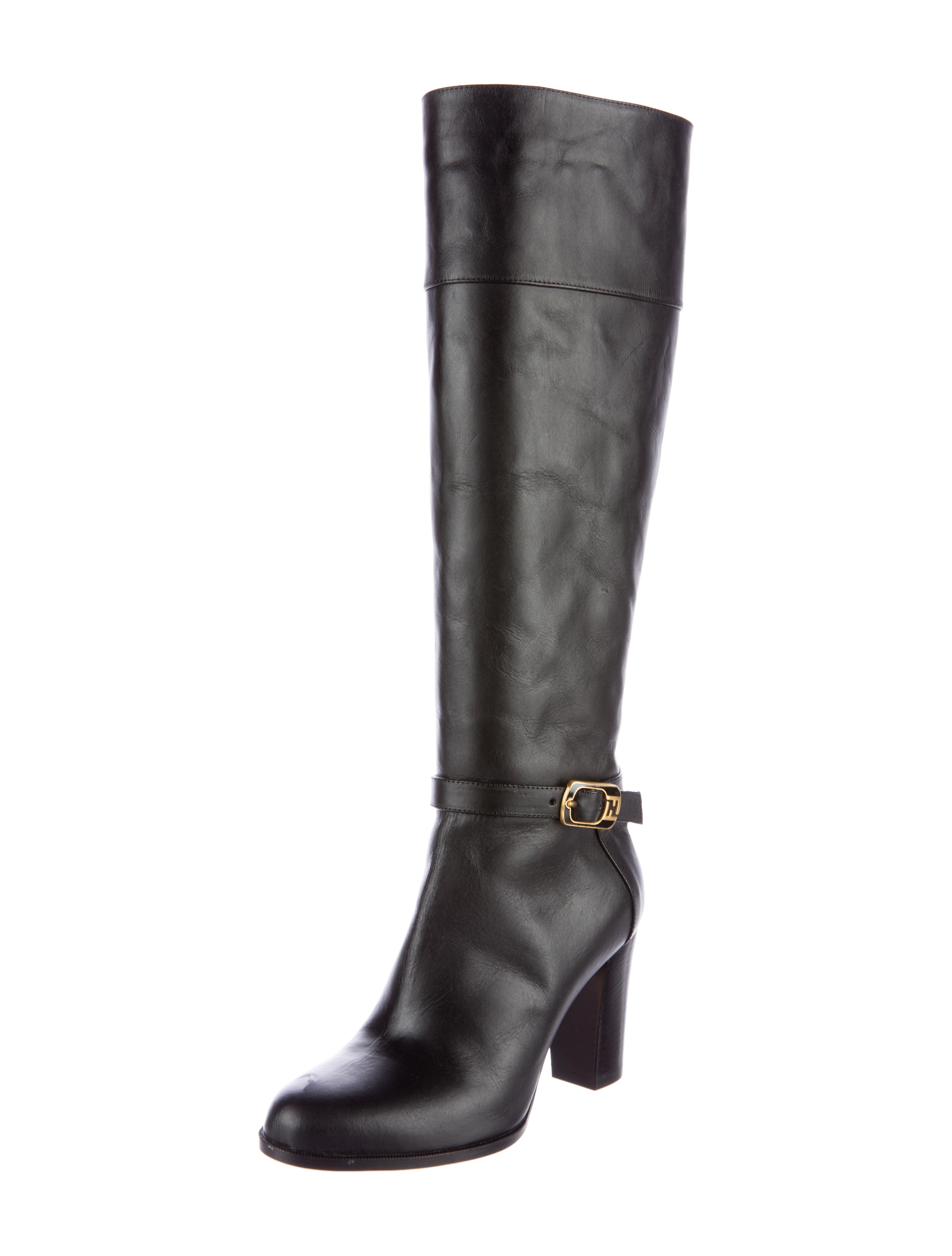 fendi buckle accented knee high boots shoes fen49919