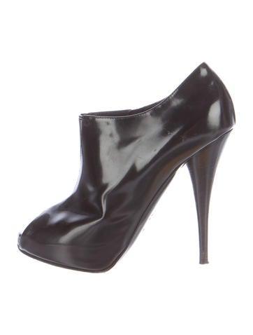 Fendi Peep-Toe Leather Booties