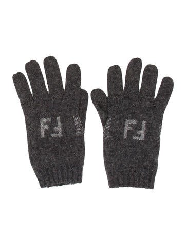 Fendi Wool Rib Knit Gloves None