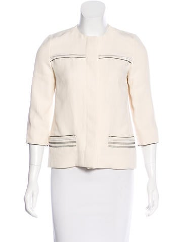 Fendi Linen-Blend Collarless Jacket None