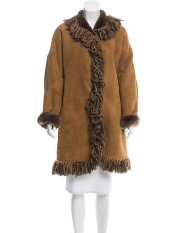 Fendi Shearling Fringe-Trimmed Coat None