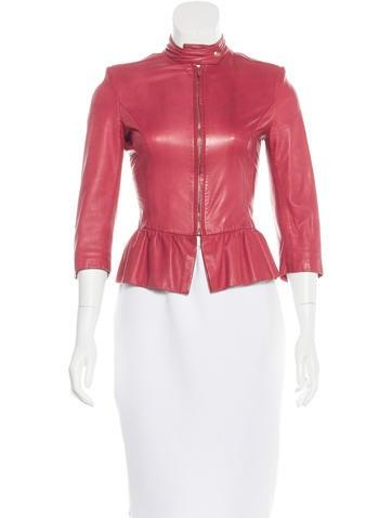 Fendi Leather Peplum Jacket None