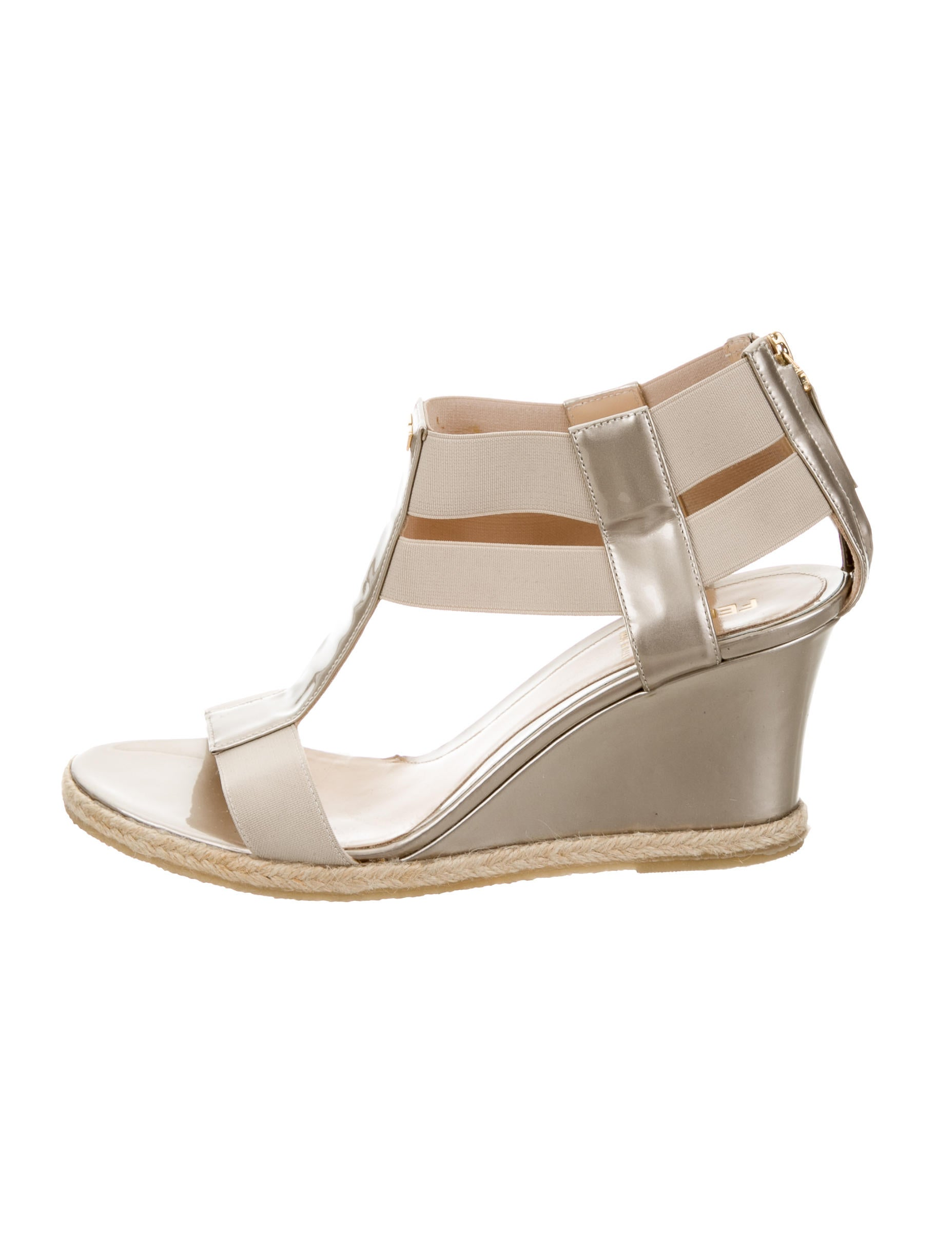 fendi metallic wedge sandals shoes fen51337 the realreal