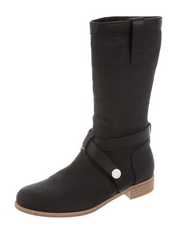 Perforated Leather Ankle Boots