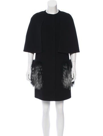 Fendi Fox-Trimmed Cashmere Coat None