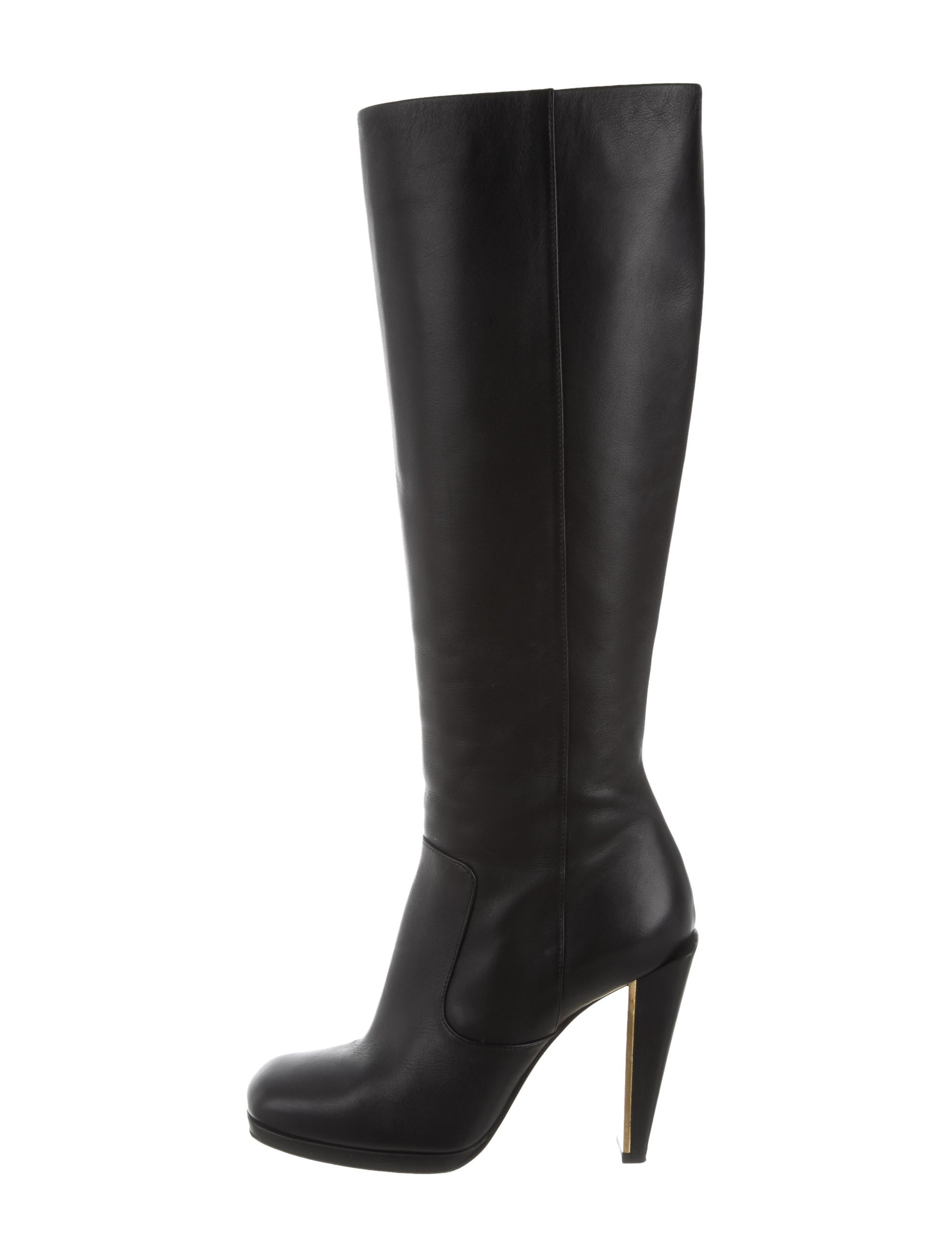 outlet cheap quality free shipping fashionable Fendi Leather Square-Toe Knee-High Boots zwaP15Mt