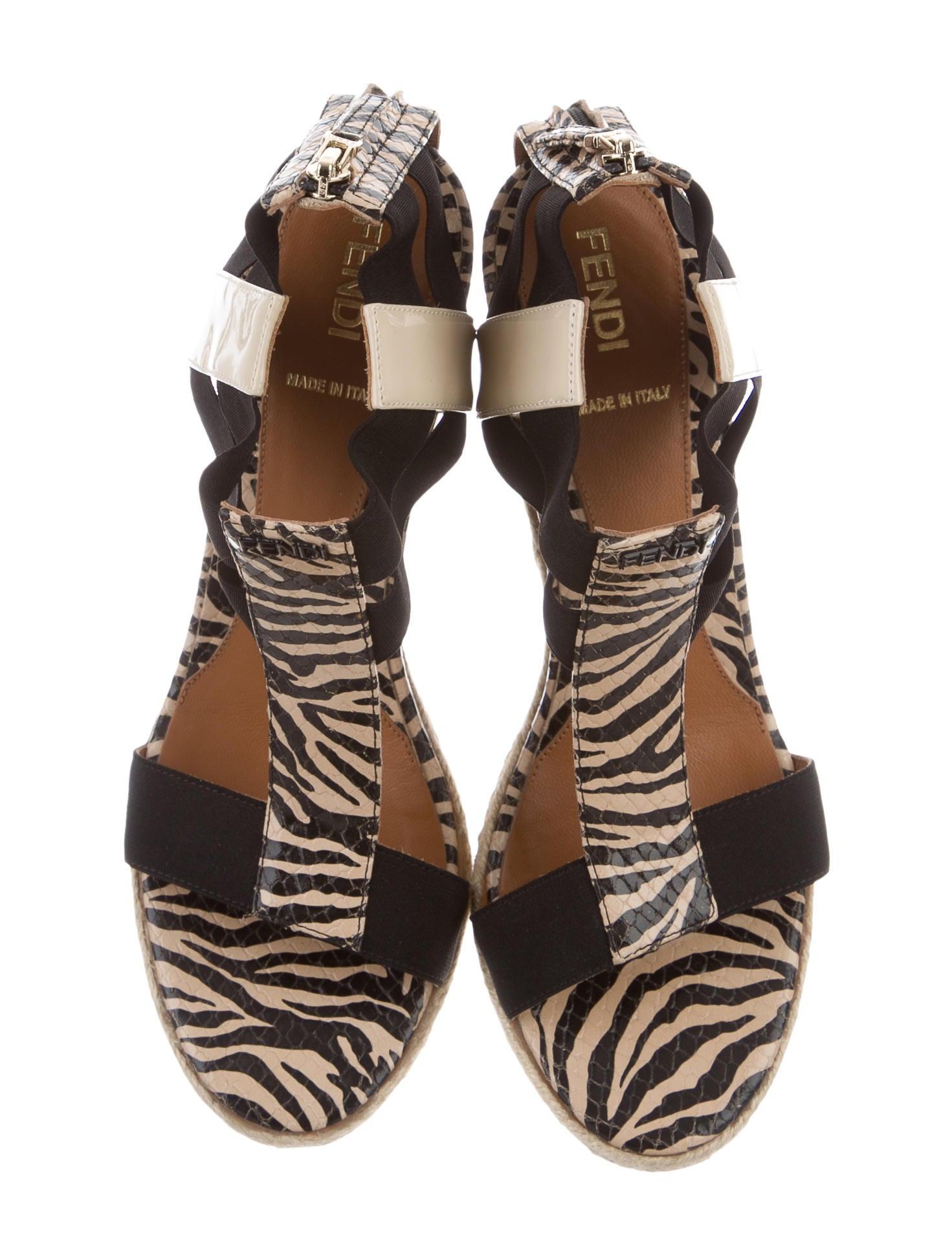 fendi zebra print wedge sandals shoes fen52552 the