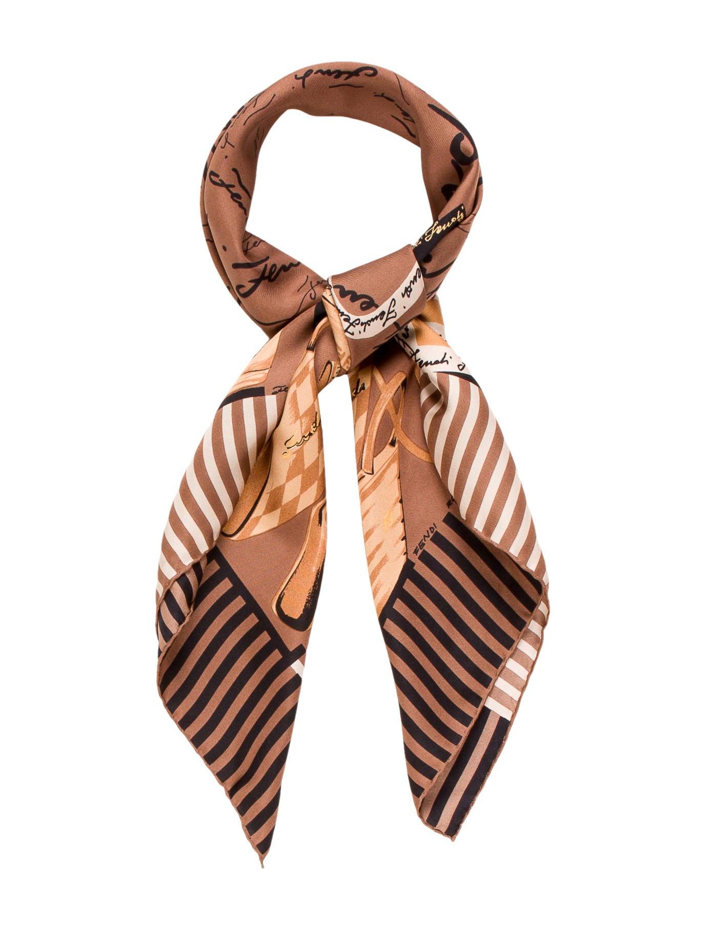 fendi handbag printed silk scarf accessories fen52595