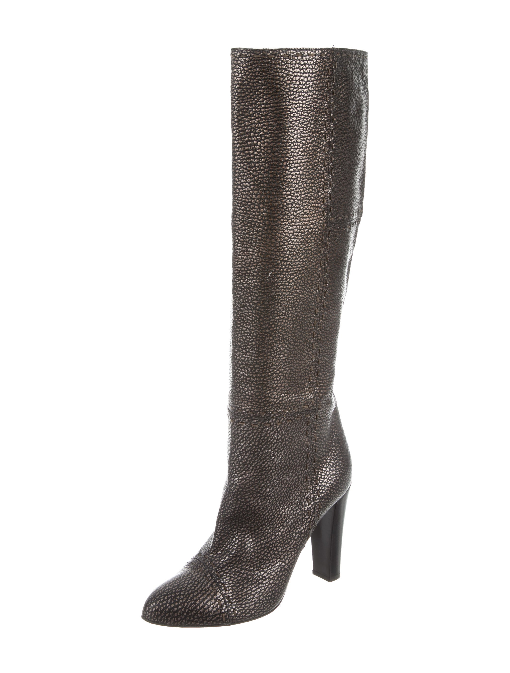 Metallic Leather Boots : Fendi metallic leather boots shoes fen the realreal