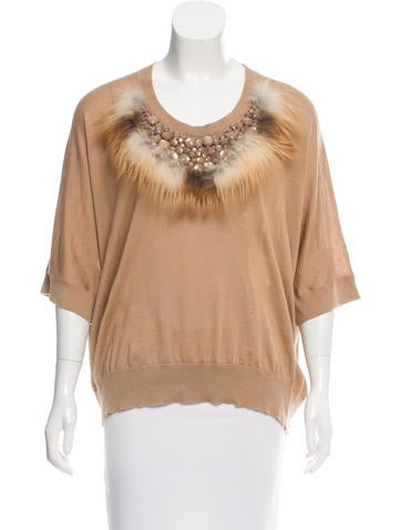 Fendi Fur-Trimmed Embellished Sweater None