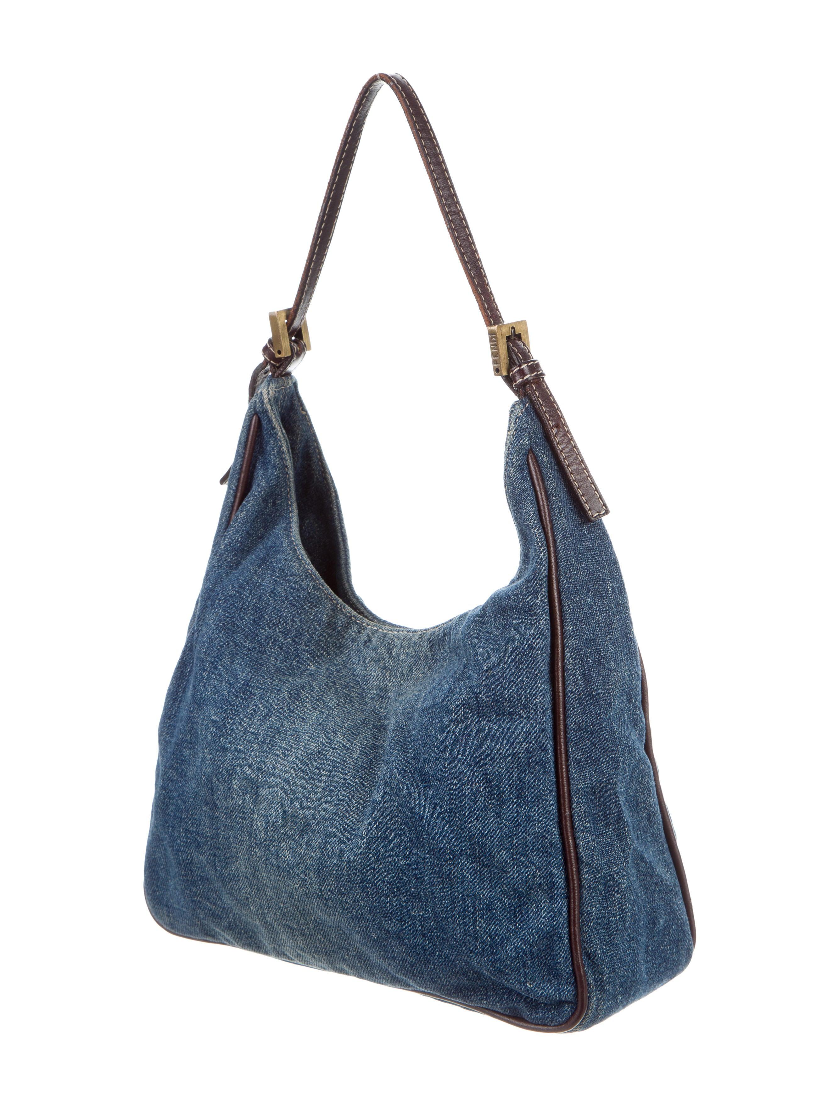 Fendi Leather Trimmed Denim Hobo Handbags Fen53433