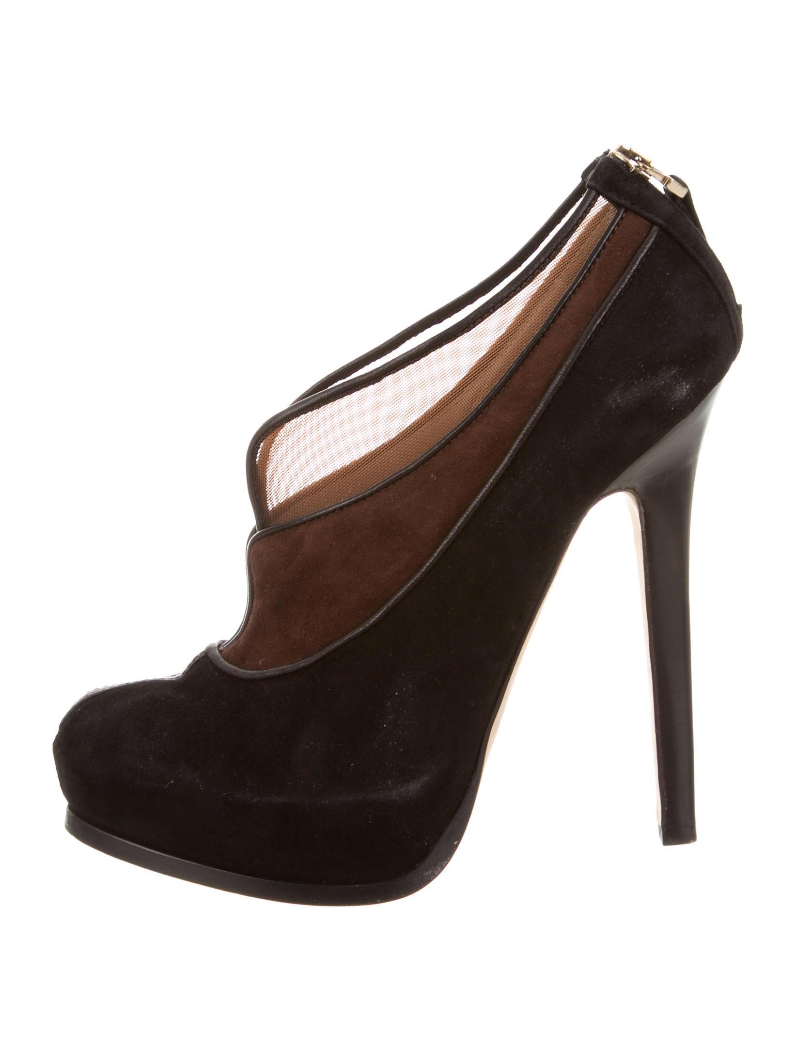 fendi mesh accented platform ankle boots shoes
