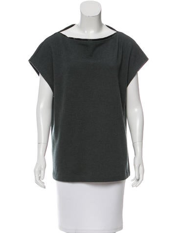Fendi Leather-Trimmed Wool Top None