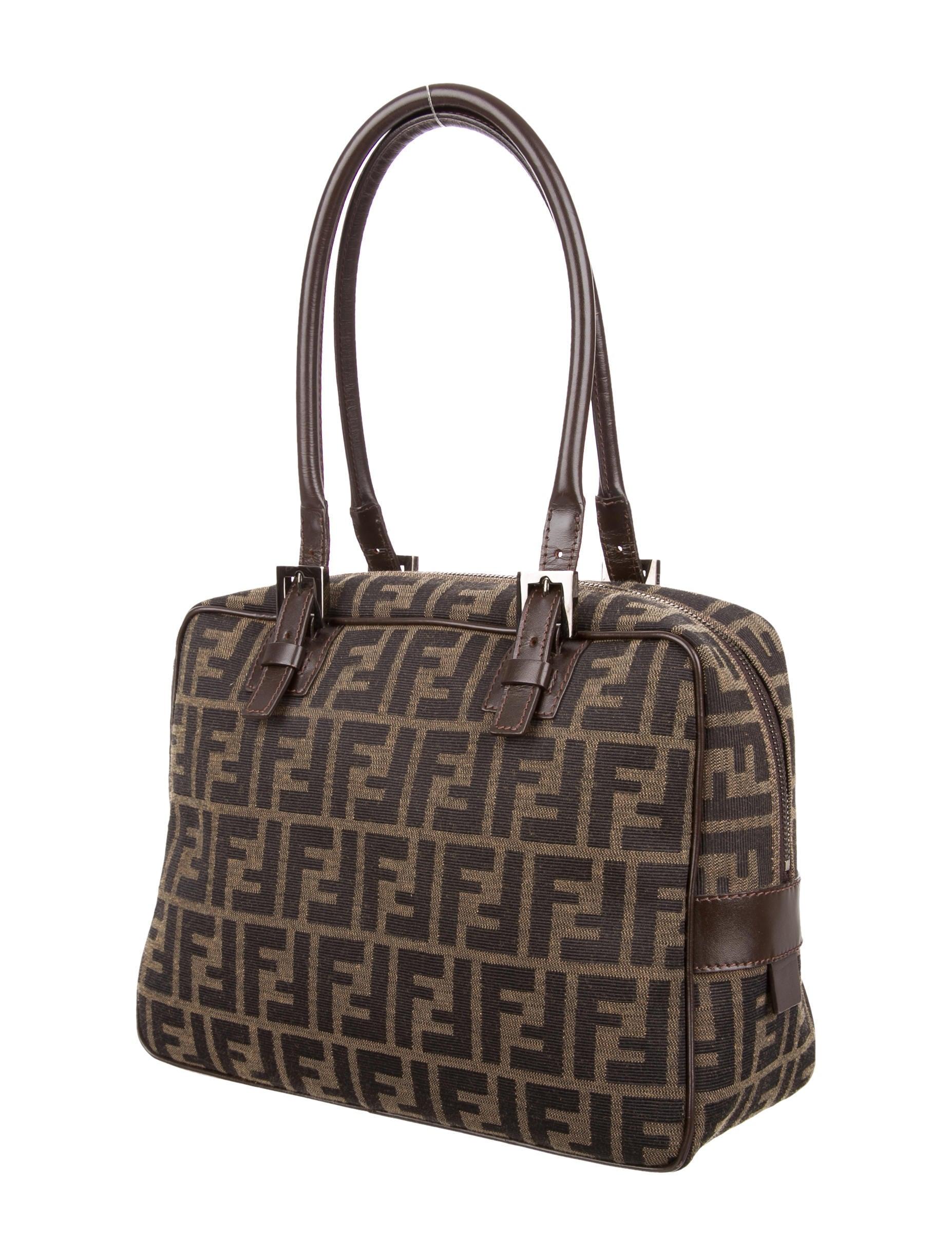 Fendi Zucca Shoulder Bag Handbags Fen54067 The Realreal