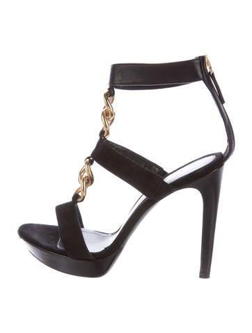 Fendi Chain-Link Suede Sandals None