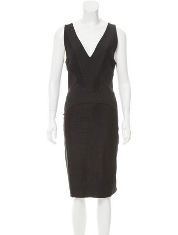 Fendi Wool Tweed-Accented Dress None