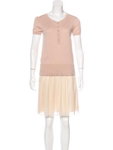 Fendi Bead-Embellished Silk Dress None