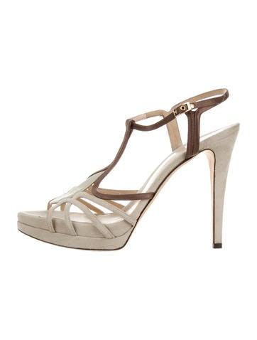 Fendi Suede Crossover Sandals None