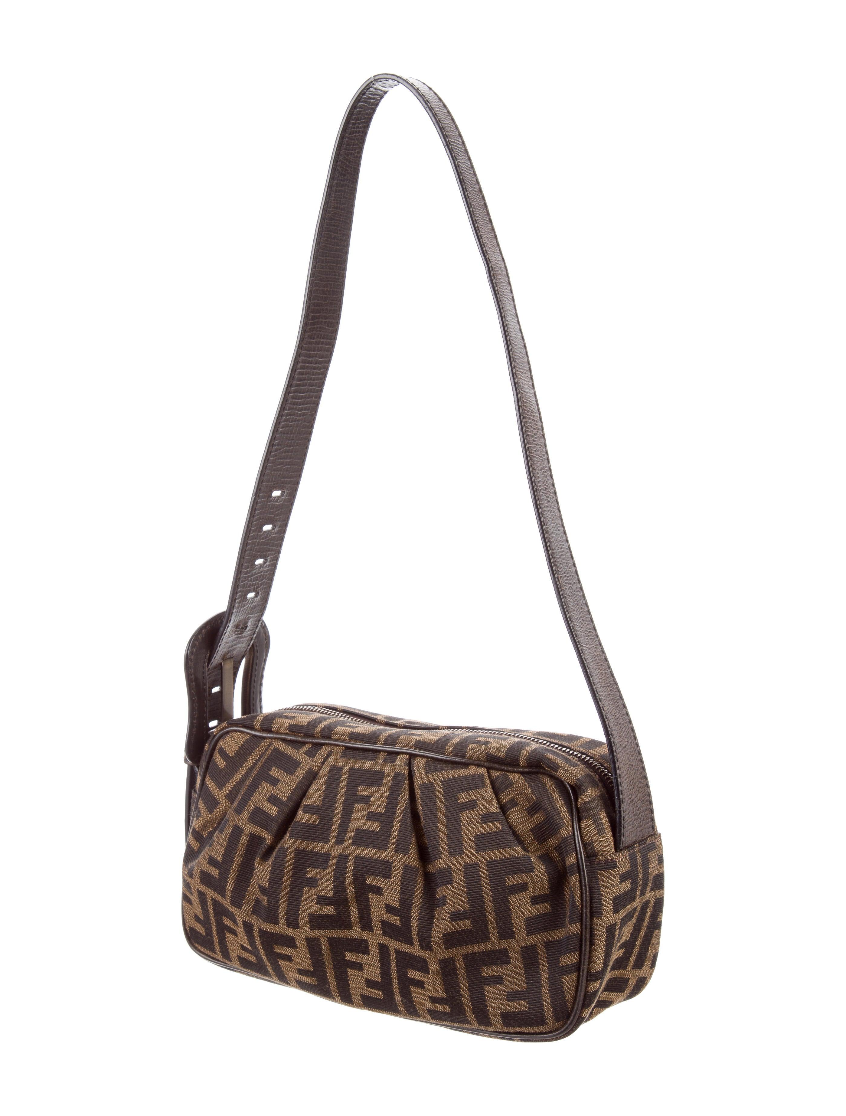 Fendi Leather Trimmed Zucca Bag Handbags Fen55700