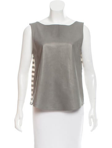 Fendi Leather-Accented Sleeveless Top None