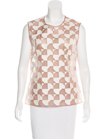 Fendi Leather-Accented Organza Top None